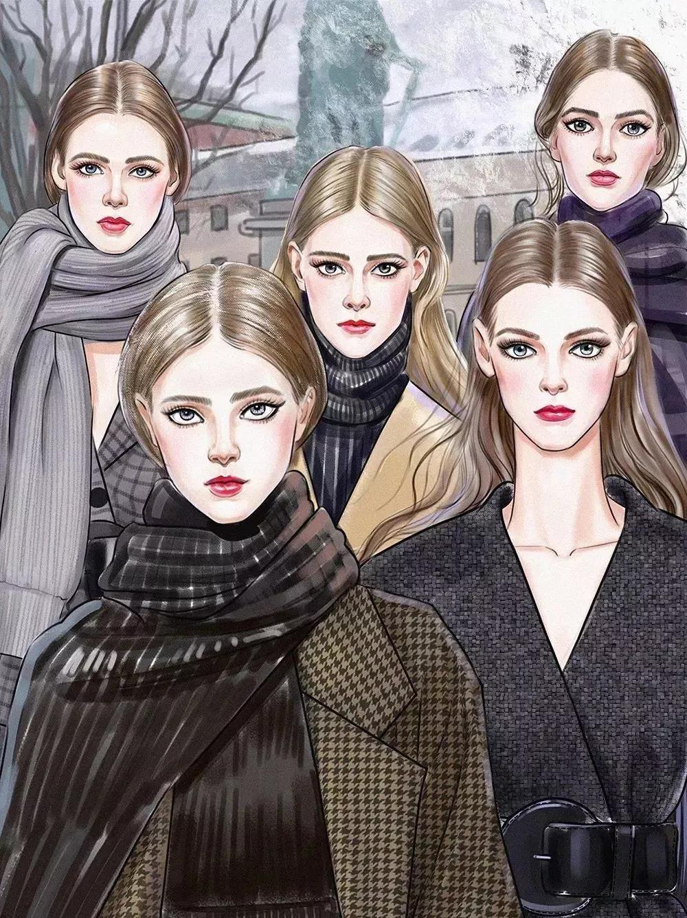 服装设计手绘三种风格的时装手绘图